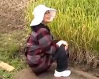 【熟女ナンパ】田んぼで作業していた農家のおばさんの自宅に押しかけて中出しセックス