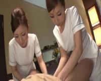 S級美女2人が、肉棒に触れない睾丸&前立腺マッサージだけで射精させちゃうハーレムエステ