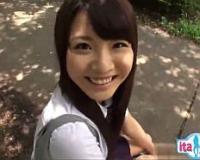 【無】満点笑顔のプリケツ彼女と制服コスでイチャラブ主観中出し姦!長谷川夏樹